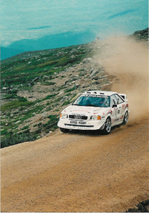 Six time Canadian Rally Champion Frank Sprongl ascending Mt. Washington in 1998 in his 500bhp Audi Quattro S2, setting a record at 6min 41.99 seconds.