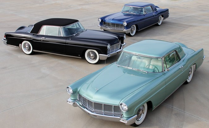 Clockwise from left, Anne Ford's black-over-black Continental Mark II, William Clay's blue car and Benson's green one. Credit Kirk Hansen/National Parts Depot