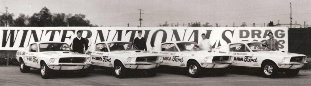 Ford Factory Team, 1968 NHRA Winternationals, Pomona, CA Gas Ronda (992), Jerry Harvey (983), Hubert Platt (984), and Don Nicholson (987)