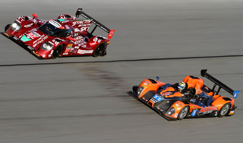The #11 ORECA FLM09-Chevy is raced by Bruno Junqueira and Canadian Chris Cumming, seen here at the Rolex 24 at Daytona