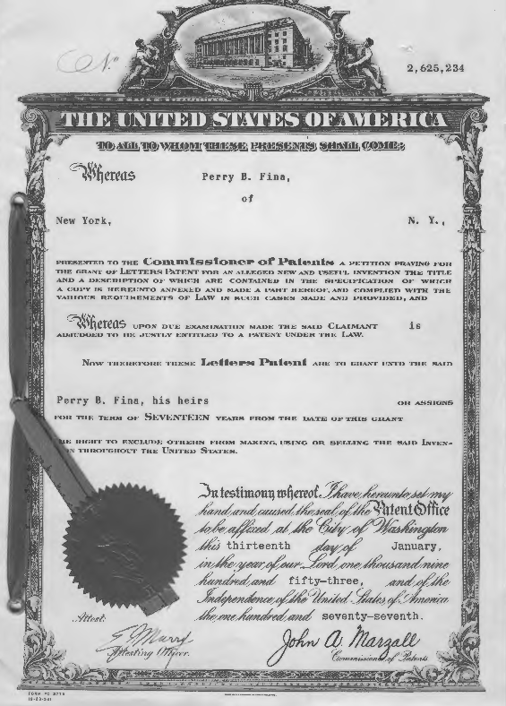 U.S. Patent for Perry Fina's unique muffler design