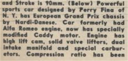 Contemporary newspaper account of the Perry Special Nardi-Cadillac