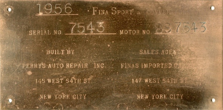 Data plate for unbuilt 1956 Fina Sport