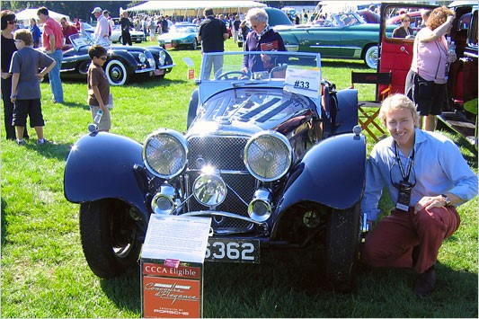 Leigh Keno with his Jaguar SS 100 (Photo Jim Motavalli, New York Times)