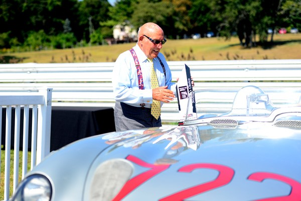 Sir Stirling Moss' favorite car at Sunday in the Park! The 300 SLR he and Denis Jenkinson drove to victory in the 1955 Mille Miglia (Photo by Greg Clark/Lime Rock Park)