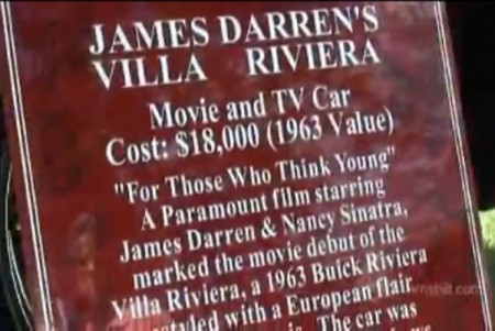 "The Villa Riviera has appeared at car shows, accompanied by this plaque which recognizes the contributions of James Darren (as Gardner ""Ding"" Pruitt III) and Nancy Sinatra (as Karen Cross) to the film."