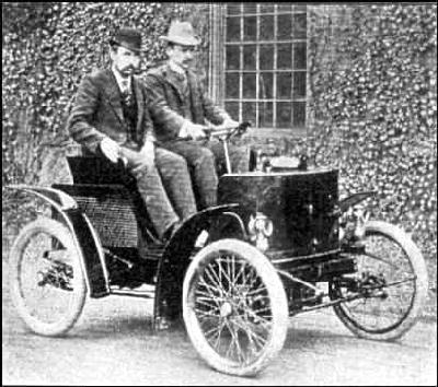 Hiram Percy Maxim driving a gasoline powered Columbia Mark VIII with designer Fred Law