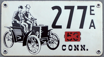 Early American license plate featuring Hiram Maxim & the Columbia Mark VIII