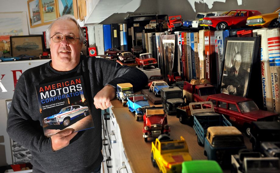Patrick Foster with his book on American Motors in Milford, CT