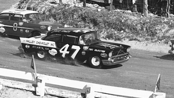 "Chevy ""Black Widow"" at Daytona Beach in 1957 (archived photo)"