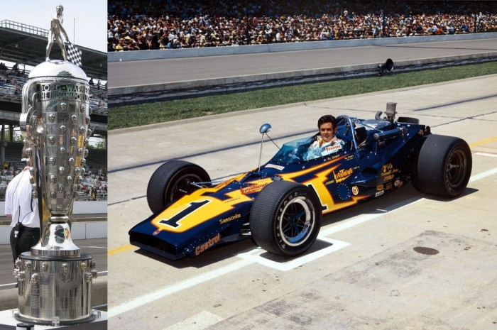 The Borg-Warner Trophy and Al Unser in the Johnny Lightning Special, twice winner Indy 500 Photos: Sarah Stierch and courtesy Indianapolis Motor Speedway Museum.