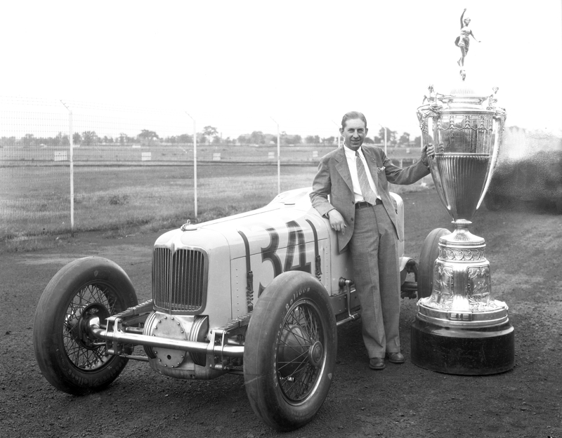 Harry Hartz with the Wheeler-Schebler Trophy in 1932