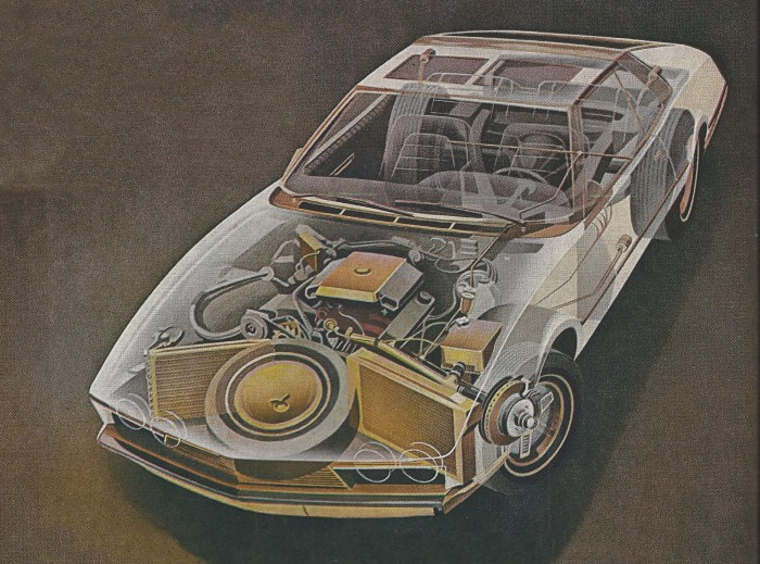 Cutaway showing copper disc brakes, cooling and electrical systems