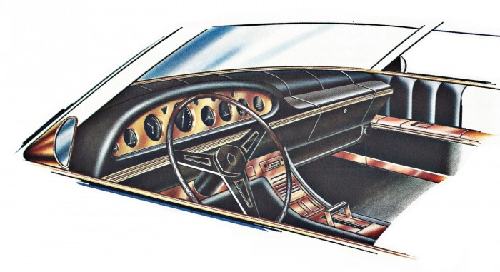 Copper trimmed instrument panel, steering wheel and console