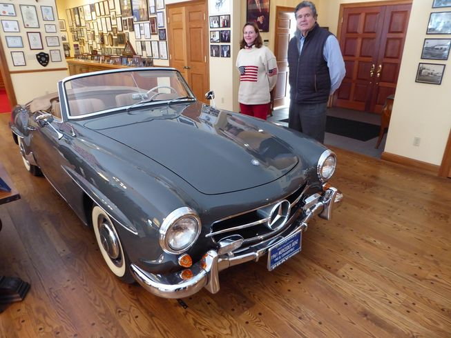 "190SL in the ""living room"" with director Marikay Satryano and Jerry Cotrone (Photo: Jim Motavalli)"