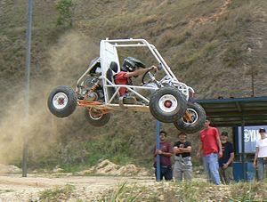 Baja SAE vehicle navigating a jump in Caracas, Venezuela (Wikipedia)
