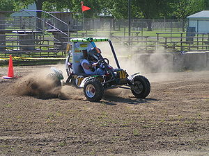 Baja SAE vehicle cornering on a test track (Wikipedia)