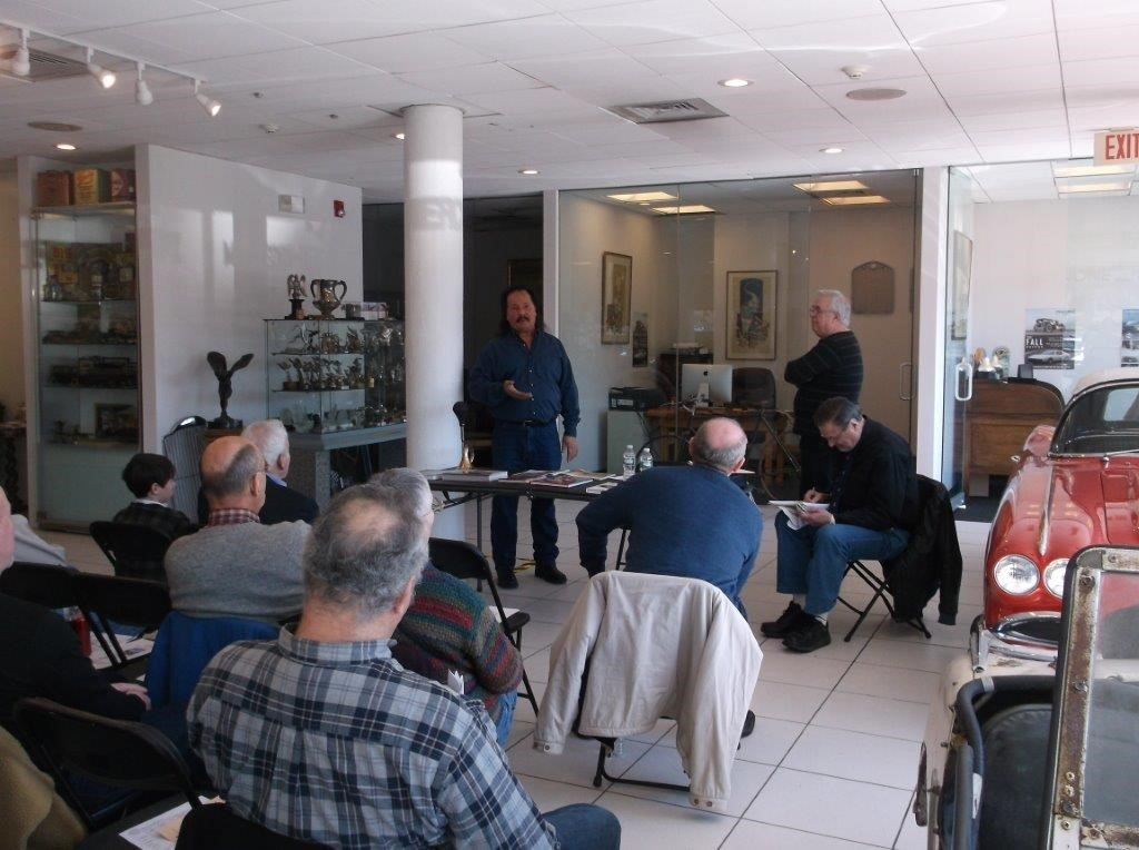 George Dragone introducing author Pat Foster at Feb. 27 Speakers event (Photo New England Auto Museum)