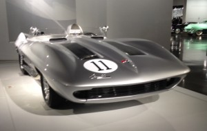 "1958 Corvette XP87 Stingray concept car, part of the ""Precious Metals"" exhibit in the Bruce Myers Family Gallery"