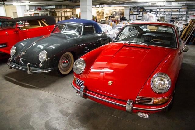 "Ultra-rare Porsches: 1955 Type 356 Continental Cabriolet and 1964 ""901"" prototype, one of only 5 believed to have survived (Photo by Perhansa Skallerup/LAist)"