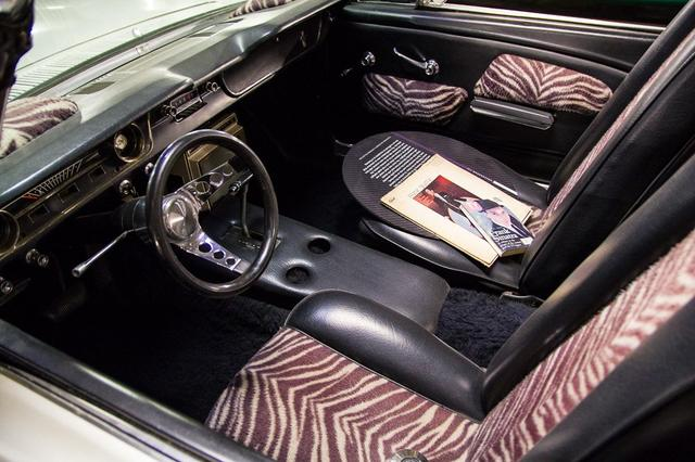 Frank Sinatra's Zebra themed 1965 Mustang customized by Barris Kustoms (Photo by Perhansa Skallerup/LAist)