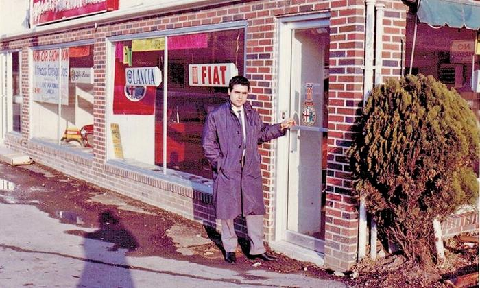 Gulla at his Larchmont, N.Y., store in 1963; for Fiat or Alfa Romeo, he says, he sold the brand, the history, the Italian heritage (Photo Automotive News)