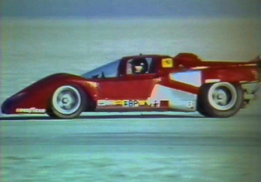 Speed record breaking Ferrari 512M Le Mans Prototype on the Salt Flats Archived Photo