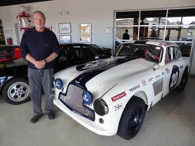 Kent Bain with the Aston-Martin DB2/4 he raced in the 1992 Carrera Panamericana