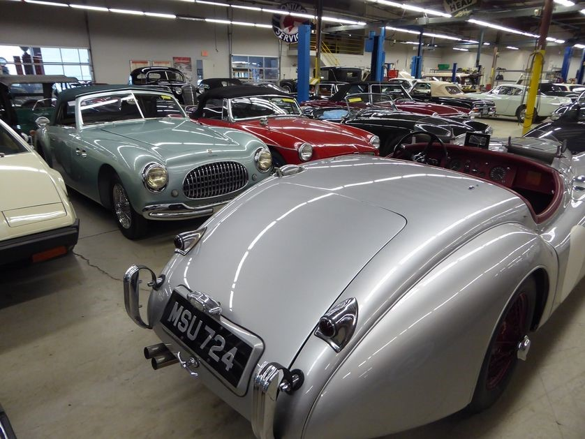 The Automotive Restorations shop floor is filled to overflowing with mouth-watering cars