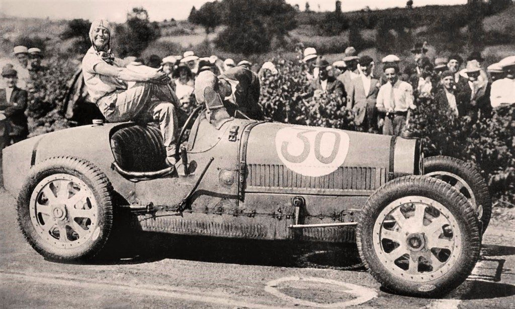 Pre-war racing legend Hellé Nice poses on a Bugatti grand prix car | Miranda Seymour archive