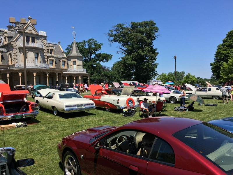 Spectators and classic cars at the 2016 Father's Day Car Show at Mathews Park in Norwalk (Photo Alex on Kleydorff/Hearst Media)