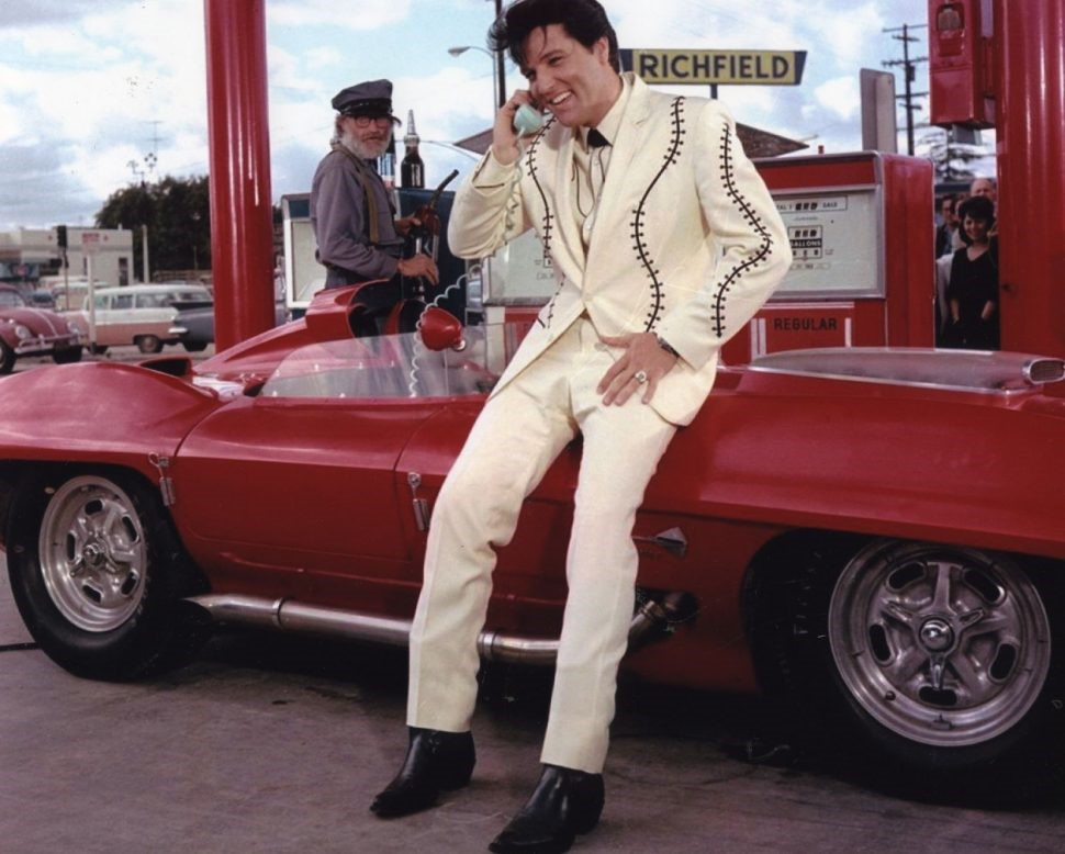 Elvis Presley with the 1959 Corvette XP-87 Stingray Racer, which has been restored to as-raced condition with a silver livery Photo courtesy Amelia Island Concours d'Elegance.