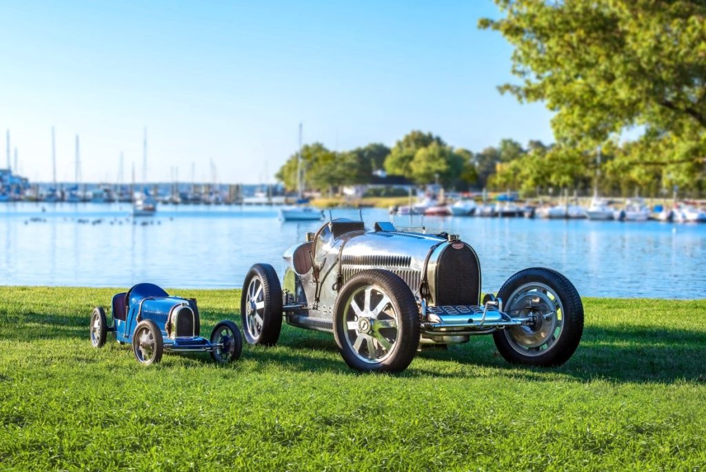Baby Bugatti with a 1925 Bugatti Type 35A/51 Grand Prix at the Greenwich Concours site Photo by Bearded Mug Media