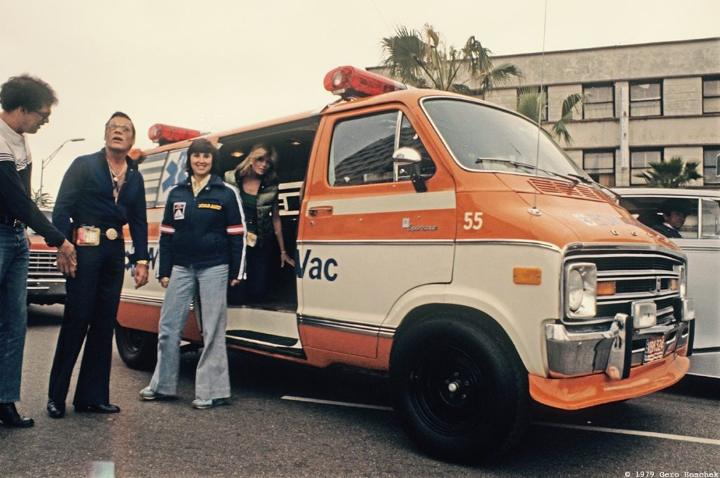 Director Hal Needham and Pamela Yates with the infamous TransCon Medi-Vac Ambulance in 1979 - Archive photo