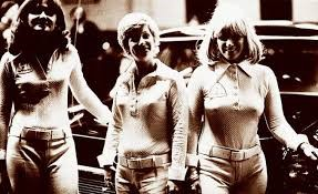 "The Right Bra Racing Team Left to right: Judy Stropus, Peggy Nemecek, and Donna Mae Mims, ""the Pink Lady"" - Archive photo"