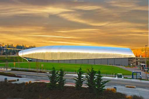 LeMay, America's Car Museum against dramatic sunset over Tacoma WA Photo - The LeMay Car Museum
