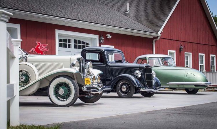 From left, 1932 Auburn Boattail Speedster, 1936 Ford pickup and 1948 Davis Divan, from Wayne Carini's collection