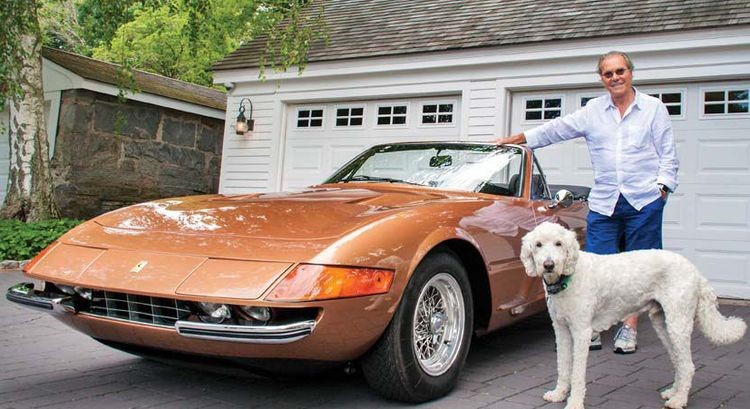 Herb Chambers with his 1972 Ferrari Daytona Spider and his dog Sid