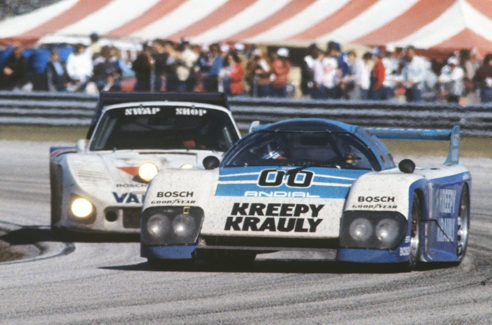 The Kreepy Krauly Porsche-powered March 83G leads the Porsche 935 of Hen's Swap Shop