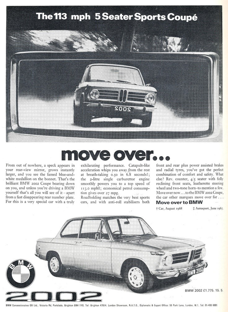 Contemporary BMW 2002 ad heralding its sports car-like performance (Photo Archives)