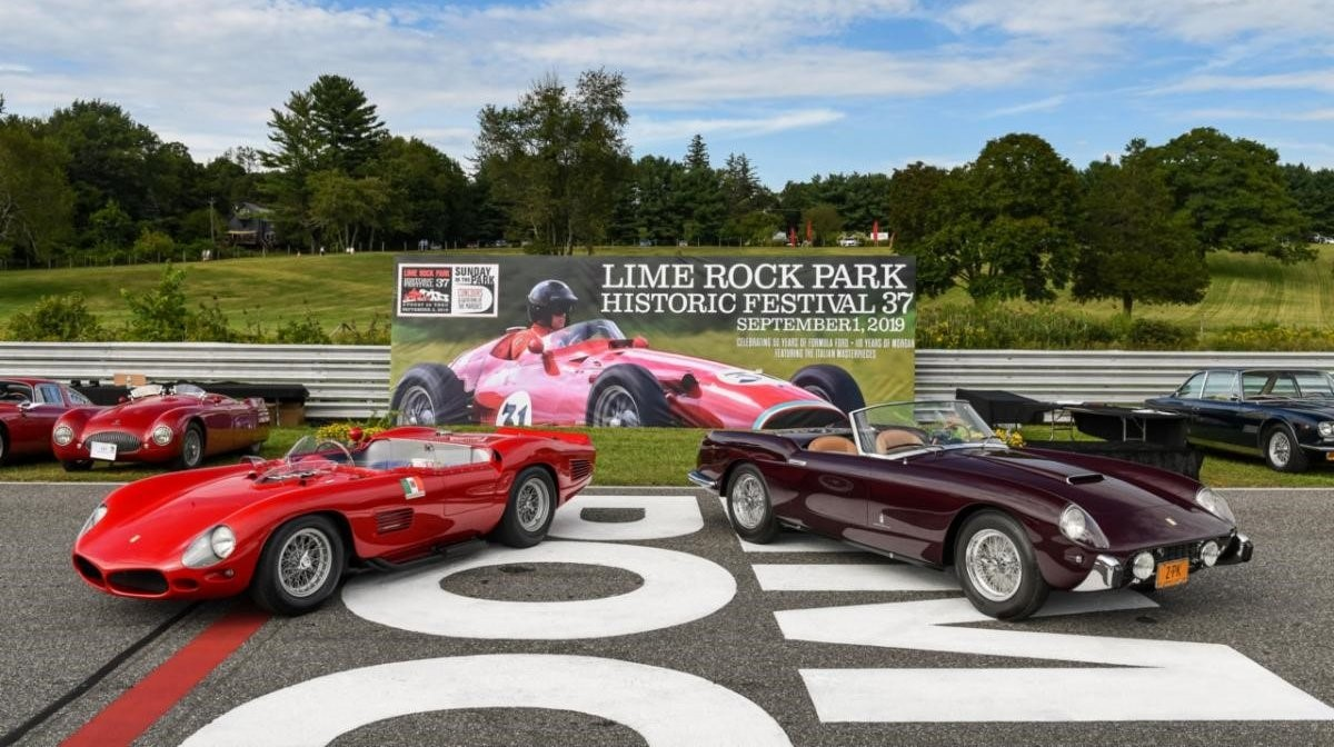 The two Best in Show winners from Lime Rock Park's Sunday in the Park Concours. Left: Ralph Lauren's 1961 Ferrari 250 Testa Rossa (Best in Show - Sport). Right: Peter Kalikow's 1958 Ferrari 250 GT PF Cabriolet (Best in Show -Touring). Photo: Lime Rock Park.