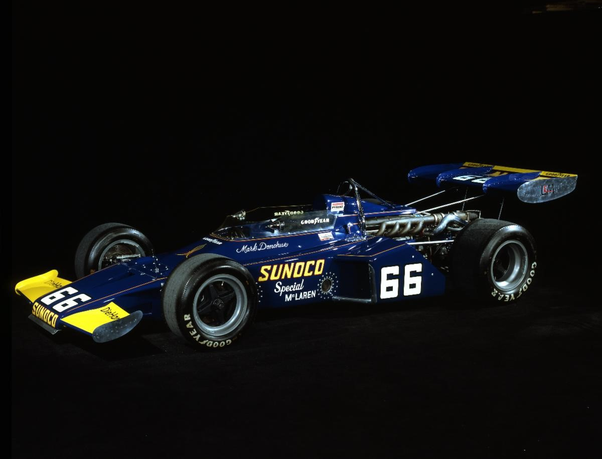 1972 McLaren M16B/1. Photo courtesy of the Indianapolis Motor Speedway Museum.