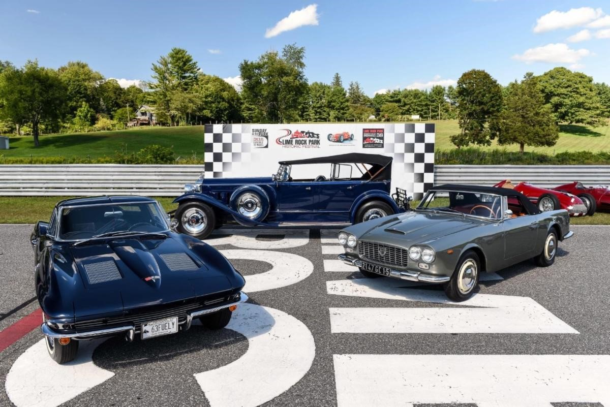 PICTURED ABOVE: Left: Best American, 1963 Chevrolet Corvette Sting Ray, Robert Boutot, Wolcott, CT Center: Best in Show 1930 Packard 745 Phaeton, Dr. Denis Bouboulis, Greenwich, CT Right: Best International 1967 Lancia Flaminia Convertible, Donald Schwarzkopf, Carefree, AZ
